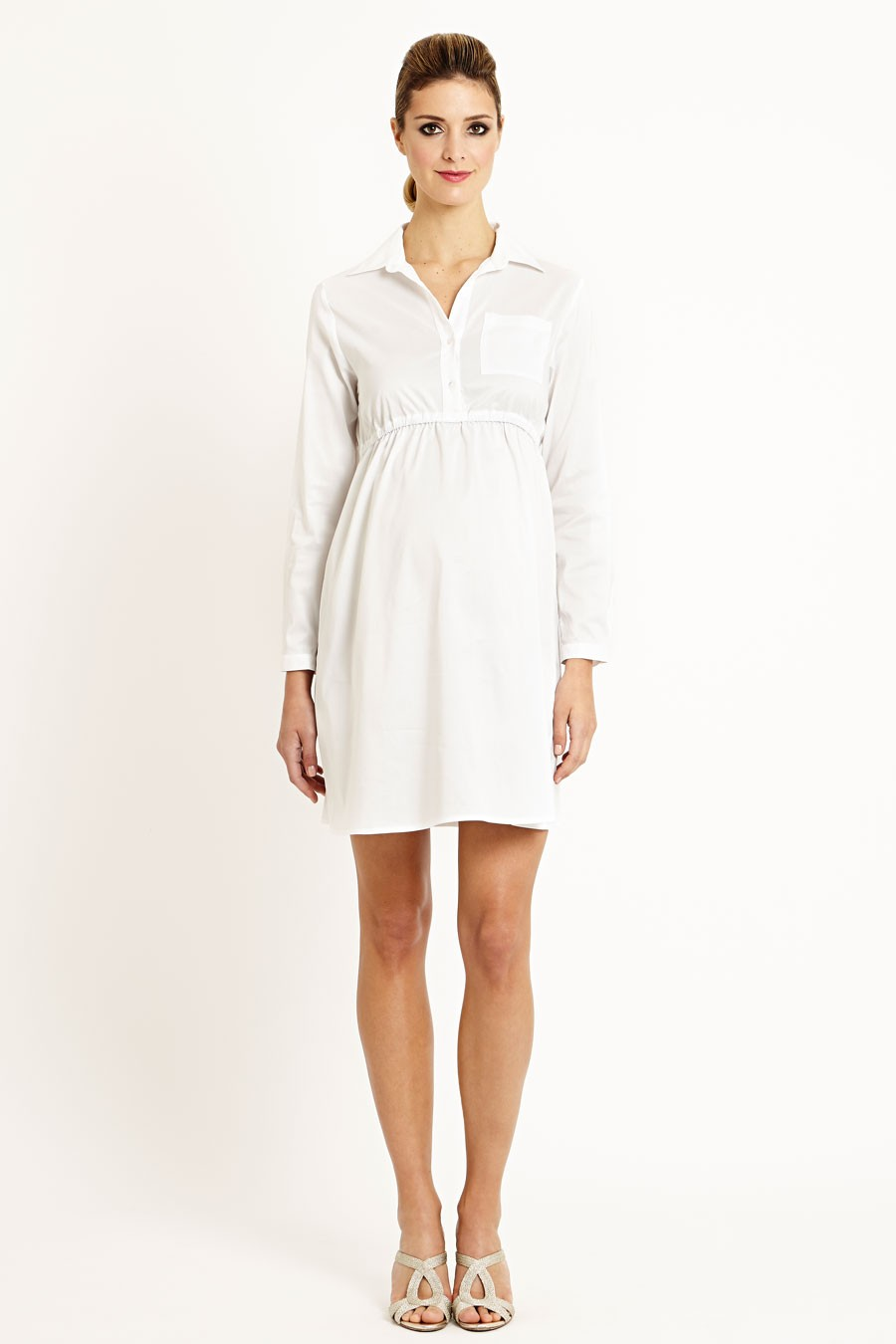 Bali Cotton Shirt Dress In Blue And White Stripes Or White