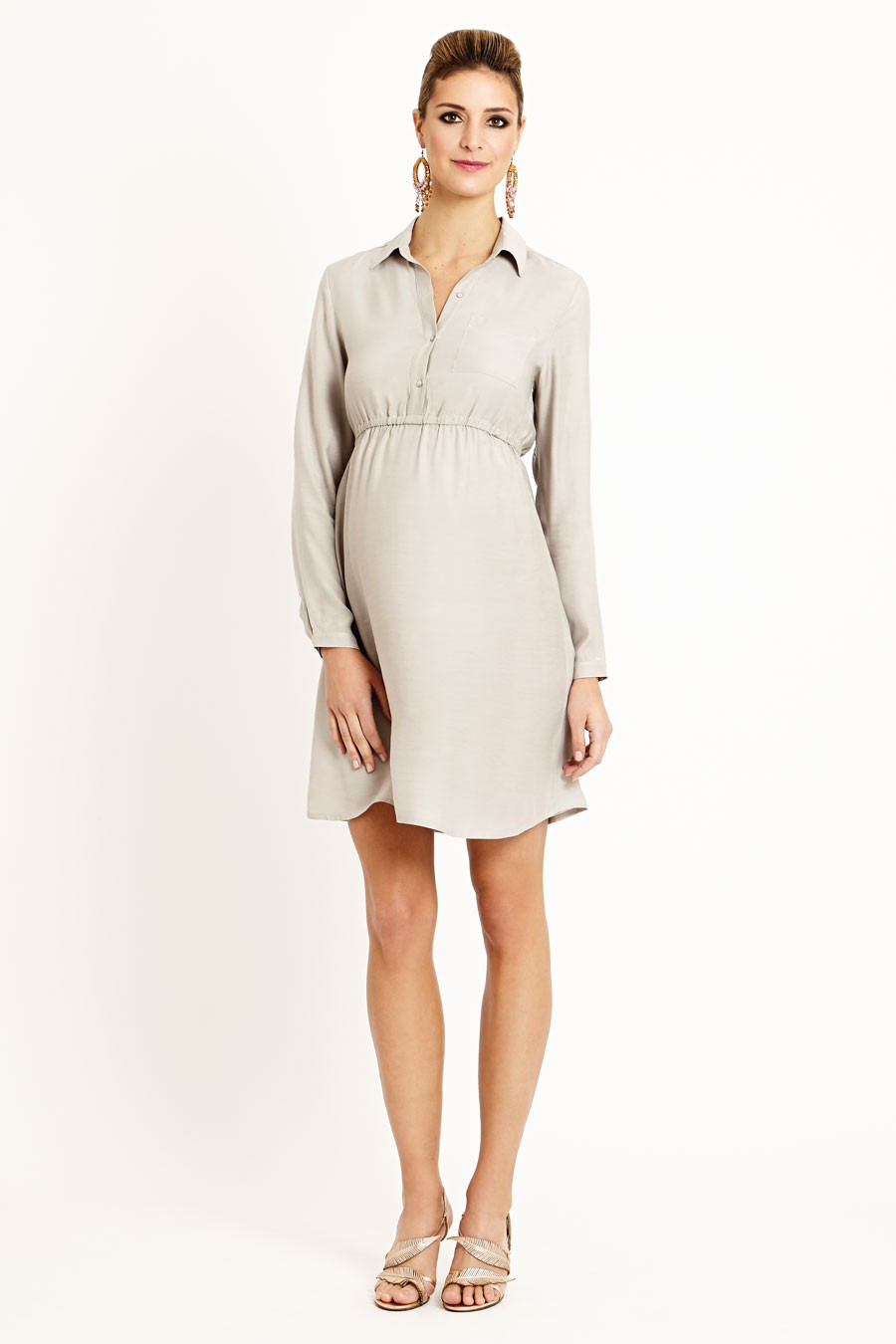 Bali Silk Shirt Dress With Long Sleeves In Three Colours