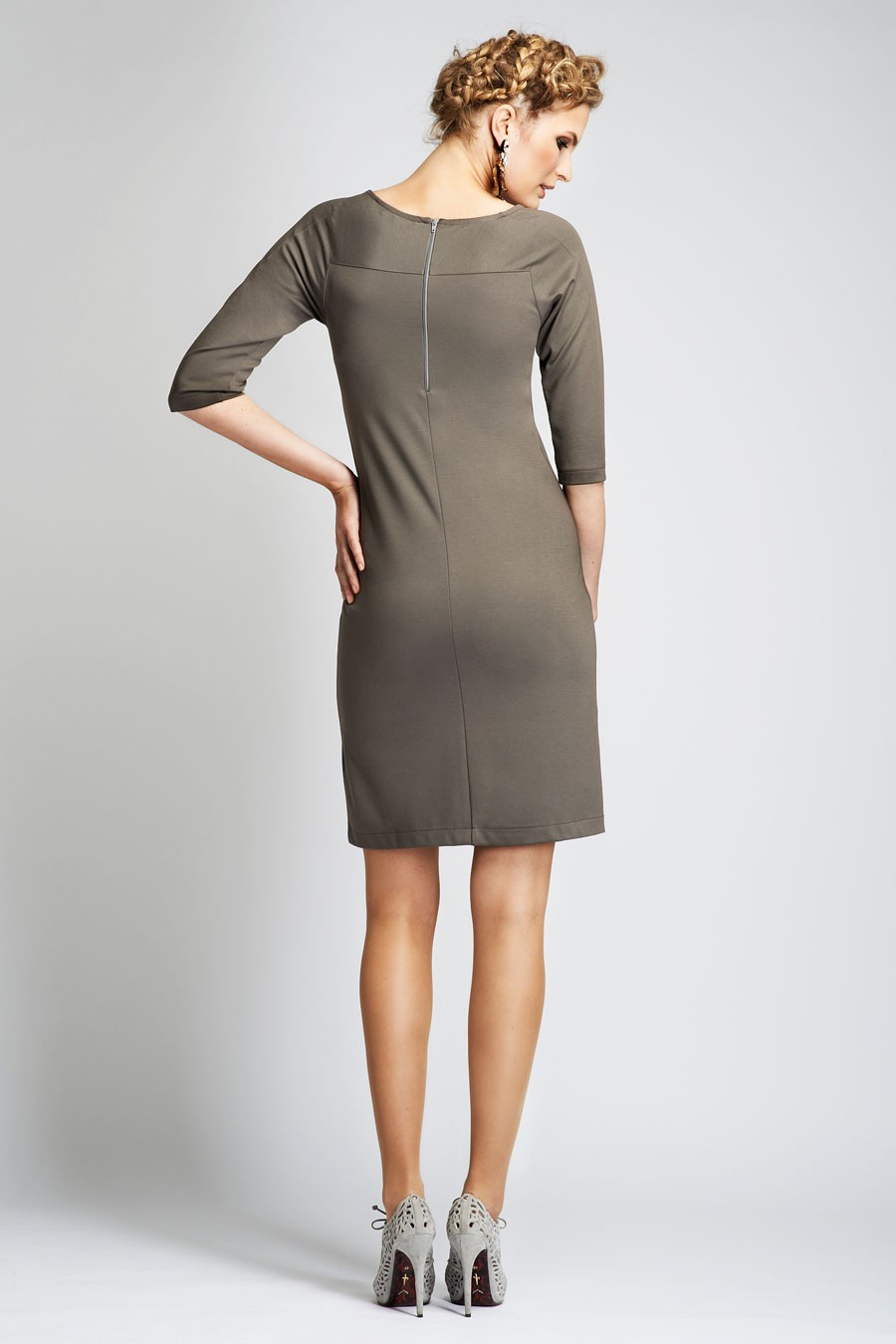Verona jersey dress with round neck and 3 4 sleeves for Uniform verona