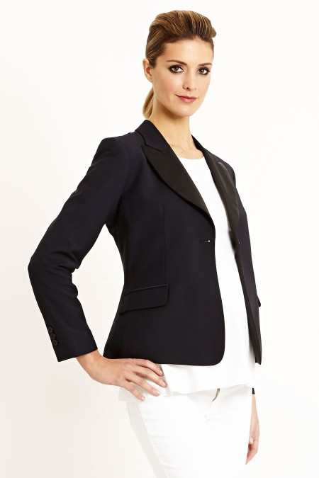 IBIZA Two Tone Collar Wool Jacket Combination 5704